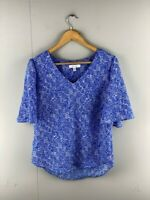 Preview Womens Blue Abstract V Neck Casual Short Sleeves Blouse Top Size 10