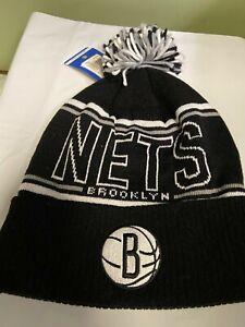 NBA Brooklyn Nets Adult Cuffed Knit Pom Hat  OSFA Black & White
