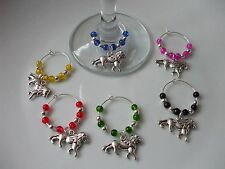 Lions Wine Glass Charms Multi x 6 + Free Gift Bag