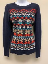 J. Crew Fair Isle Navy Blue Jacquard Stitch Embroidered 100% Wool Sweater Small