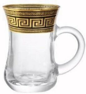 Turkish Tea Glass Set 6 Mugs w/ Handles Gold Band Design (Greek Key)