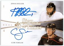 JONAS HILLER CAM FOWLER 2011-12 UD SP Authentic Sign Dual Auto Card 11/12 DUCKS