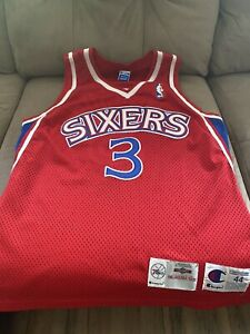 NBA Authentic Champion Philadelphia 76ers Allen Iverson Jersey Size 44