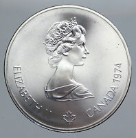 1974 CANADA Queen Elizabeth II Olympics Montreal TORCH HOLDER Silver Coin i90476