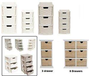 Plastic Rattan Drawer & MDF Wooden Storage Drawers Tower Unit Mini Large Deep
