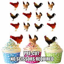 Precut Pollo GALLI 12 Decorazioni Commestibili Cupcake Topper Festa di Compleanno