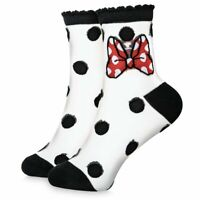 Disney Authentic Minnie Mouse Sheer Crew Socks for Women One Size