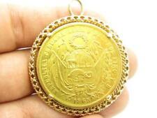 1863 Peru 20 Soles Seated Liberty FIRME Y FELIZ .900 Fine Gold Coin w/ 14k Bezel