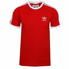 Adidas Camiseta Para Hombres escarlata y Blanco 3 rayas de cuello redondo camiseta de timbre