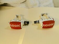 """Vintage Look clipless pedals ~ 9/16"""" ~ Red + White ~ 80s road bike"""