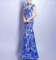 Womens Long Dresses Sexy Slim Wedding Party Dinner Qipao Chinese Style Fashion