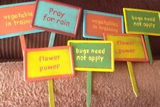 Set Of Cute Garden Stakes, Seven Metal Stakes