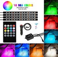 4x 48 LED RGB Car Interior Floor Neon Light Strip Atmosphere Lamp Remote Control