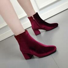 Womens Faux Suede Fashion Ankle Boots Side Zip Round Toe Casual Block Heel Shoes