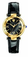 Versace Women 'REVE' Swiss Quartz Stainless Steel & Leather Watch, Black VAI0200