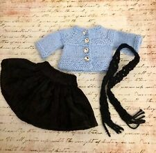 """Patsy/Anne Estelle ~Blue Ice~ Handknit Outfit for 10"""" Dolls Sweater, Skirt,Scarf"""