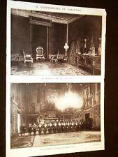 Roma nel 1929 Re e Regina d'Italia visitano il Papa Vaticano Svizzera Gasparri