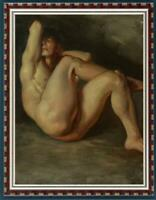 "Hand-painted Oil painting art Portrait male nude on canvas 24""x36"""