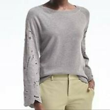 Banana Republic Grey Embroidered Lace Sleeve Sweater Med