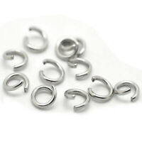 500x Silver Tone Stainless Steel Open Jump Rings 6mm F5S1