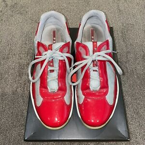 Prada Sneakers America's Cup Red Patent Leather Trainer - Size 8
