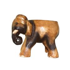 "6"" Wooden Elephant Stool Flower Pot Stand Hand Carved Furniture Home Decor."