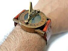 Antique Steampunk Maritime Sundial Orange Leather Wrist Band Sun Clock Compass