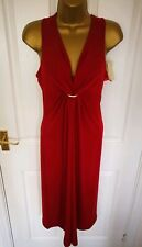 New For Women Womens Ladies Midi Dress Size 10  Bodycon Red Pencil V Neck AP