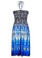 Blue Border print sun holiday beach Maxi DRESS / SKIRT size 22 VISCOSE comfort