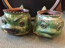 Rare! Pair of Antique French Terra Cotta Glazed Dolphin Planters