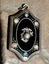 Vintage US Marine Corps Sterling Silver Locket - Roses on Black Onyx?  - 1930's