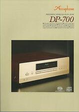 Accuphase dp-700 Catalogo Prospetto Catalogue datasheet brochure