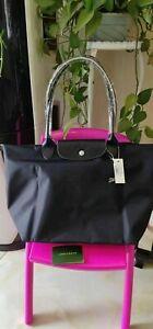 Longchamp Le Pliage Nylon Tote Bag Leather Strap Handles Handbag - Black -Large