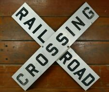 "Vintage Original Railroad Crossing Crossbuck Highway Road Sign Aluminum 48""x9"""