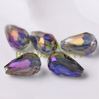 New 10pcs 18X12mm Big Teardrop Faceted Spacer Loose Glass Beads Purple Colorized
