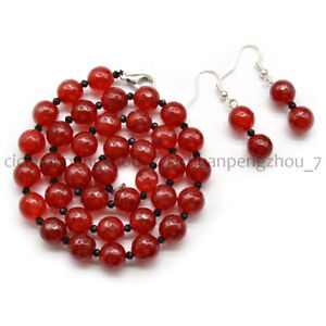 Faceted 6/8/10/12mm Red Jade 3mm Black Spinel Round Beads Necklace Earrings Set