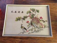 Vintage Framed Embroidery- Peacocks