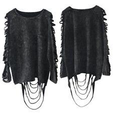 Women Hollow Long Sleeve Top Blouse T-Shirt Ladies Punk Rock Tassel Classic Coat