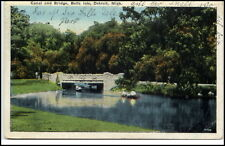 Detroit USA Michigan ~ 1920/30 Canal Bridge Belle Isle BOAT FIUME PONTE BARCHE