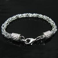 925Sterling Silver Fashion Jewelry Down Dragon Head Men Woman Bracelet 5MM H096