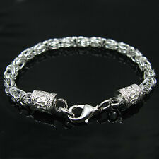 925Sterling Silver Fashion Jewelry Down Dragon Head Men Woman Bracelet 5MM H096