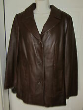 ANNE KLEIN Leather Coat Jacket Medium Brown Soft Zip In Liner Faux Fur Tailored