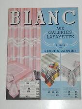 CATALOGUE GALERIES LAFAYETTE BLANC Janvier 1938 mode