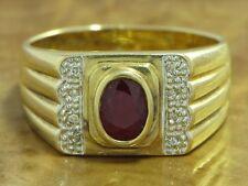 14kt 585 GOLD GELBGOLD RING MIT RUBIN & DIAMANT BESATZ RUBINRING GOLDRING