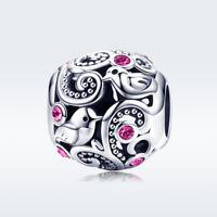 Vintage 925 Silver CZ Charm Beads Retro Pendant Women Jewelry Fit Bracelet Chain