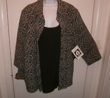 NWT George Top Size 4X 26/28W 1 Piece Looks Like 2 Button Top & Tank Black White