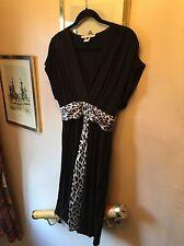 Single Black Luxury Rayon Dress With 100% Silk Animal Print Contrast Panel,Large