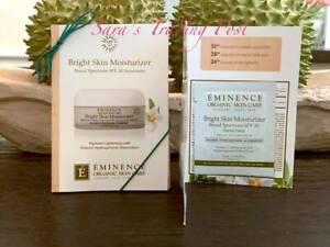 6 Eminence Bright Skin Moisturizer SPF30 Cream Card Samples 3ml/.10oz each + 🎁