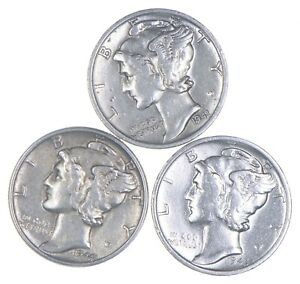 Lot of 3 AU/Unc 1941-S, 1944, 1945-S Mercury Dimes 90% Silver Collection *316