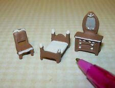Miniature Tiny 1:144 Brown Colonial Bedroom for Dollhouse's Dollhouse Miniatures